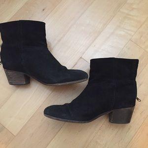 MNG Mango black suede zip back booties boots